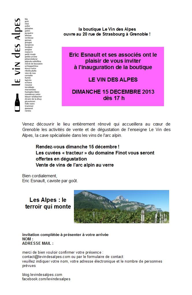 invitation inauguration le vin des alpes